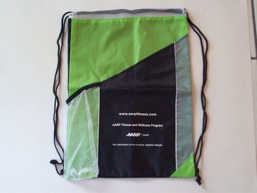 Nouveau AARP Fitness Gym Cinch Sac Sac Sac à dos avec cordon de serrage en nylon vert/noir/gris