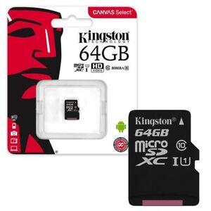 64GB-Kingston-Lona-seleccionar-Micro-SD-Tarjeta-de-memoria-SDXC-80MB-s-UHS-1-clase-10-64GB