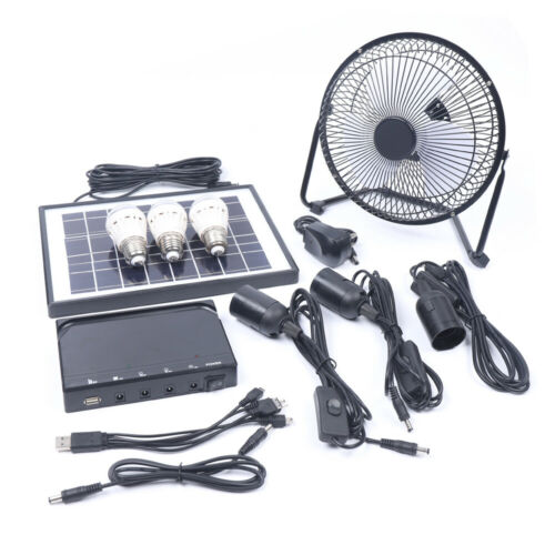"""8/"""" RECHARGEABLE POWERED FAN LED LIGHT W SOLAR/& INTERNAL 3600mAh BATTERY CHARGERS"""
