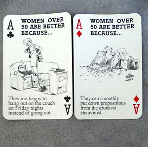 Playing-Cards-Game-Vintage-WOMAN-OVER-50-Gag-Gift-Joke-Funny-2-Decks-Jokers