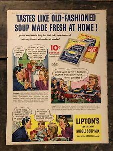 RARE-Vintage-1942-Lipton-039-s-Noodle-Soup-Ad-11-5x15-inch-WWII-Era-Illustrations