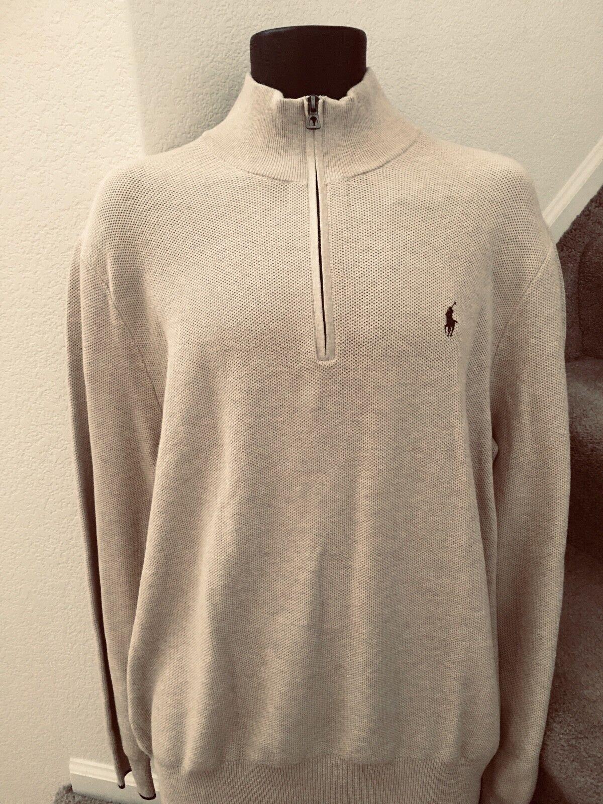 Polo  Ralph Lauren para hombre Suéter Con Cremallera Con Textura Pique 1 2 Talle Xl Natural Nuevo Con Etiquetas  98  garantizado