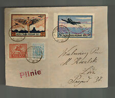 1921 Poznan Poland Airmail Special Issues Cover to Lodz Postally Used