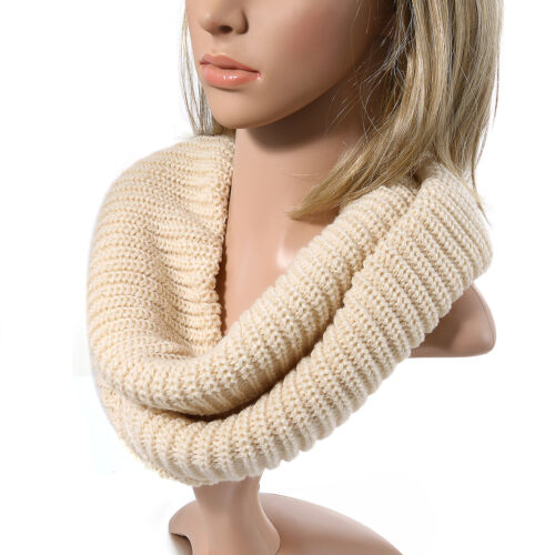 Women Girl Thick Solid Ribbed Knit Soft Acrylic Infinity Circle Loop Neck Scarf