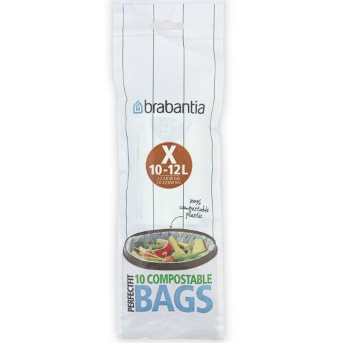 Size X Brabantia Compostable Bin Liners PerfectFit Bags 10 Pack 10-12 Litre