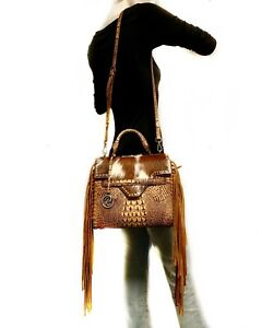 Raviani-Fringe-Satchel-Brown-Crocodile-amp-Hair-on-cowhide-Leather-W-Crystals