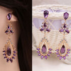 Chicas Pendientes Largos Stud Aretes Púrpura Cristal Diamante Earring Fiesta nh