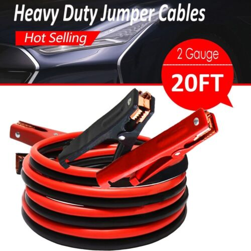 Premium Heavy Duty Extra Long 20 FT 2 Gauge Booster Jumper Jumping Cables