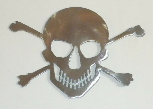 4 inch Skull & Crossbones Polished Steel Metal Wall Art Stencil Magnet Ornament