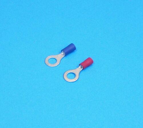 """Conectores De Anillo 50x 8 mm Rojo y Azul Lug Terminal 5//16/"""" coche cable de alimentación"""