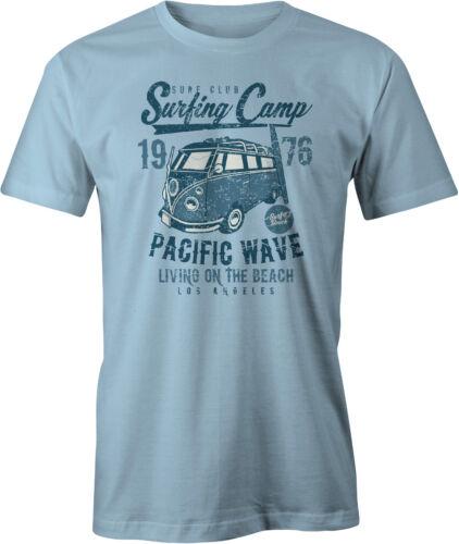 Surfing Camp Retro Campervan T Shirt Pacific Wave. LA Los Angeles