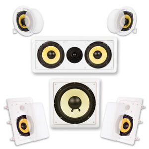 Acoustic-Audio-HD-515-In-Wall-Ceiling-Home-Theater-Surround-5-1-Speaker-System