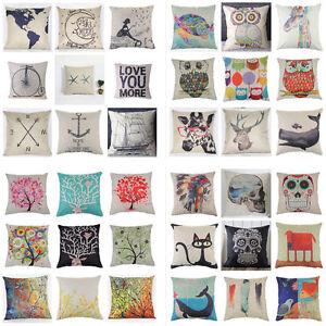 Romantic-Sofa-Waist-Cushion-Cover-Home-Decor-Cotton-Linen-Throw-Pillow-Case-NEW