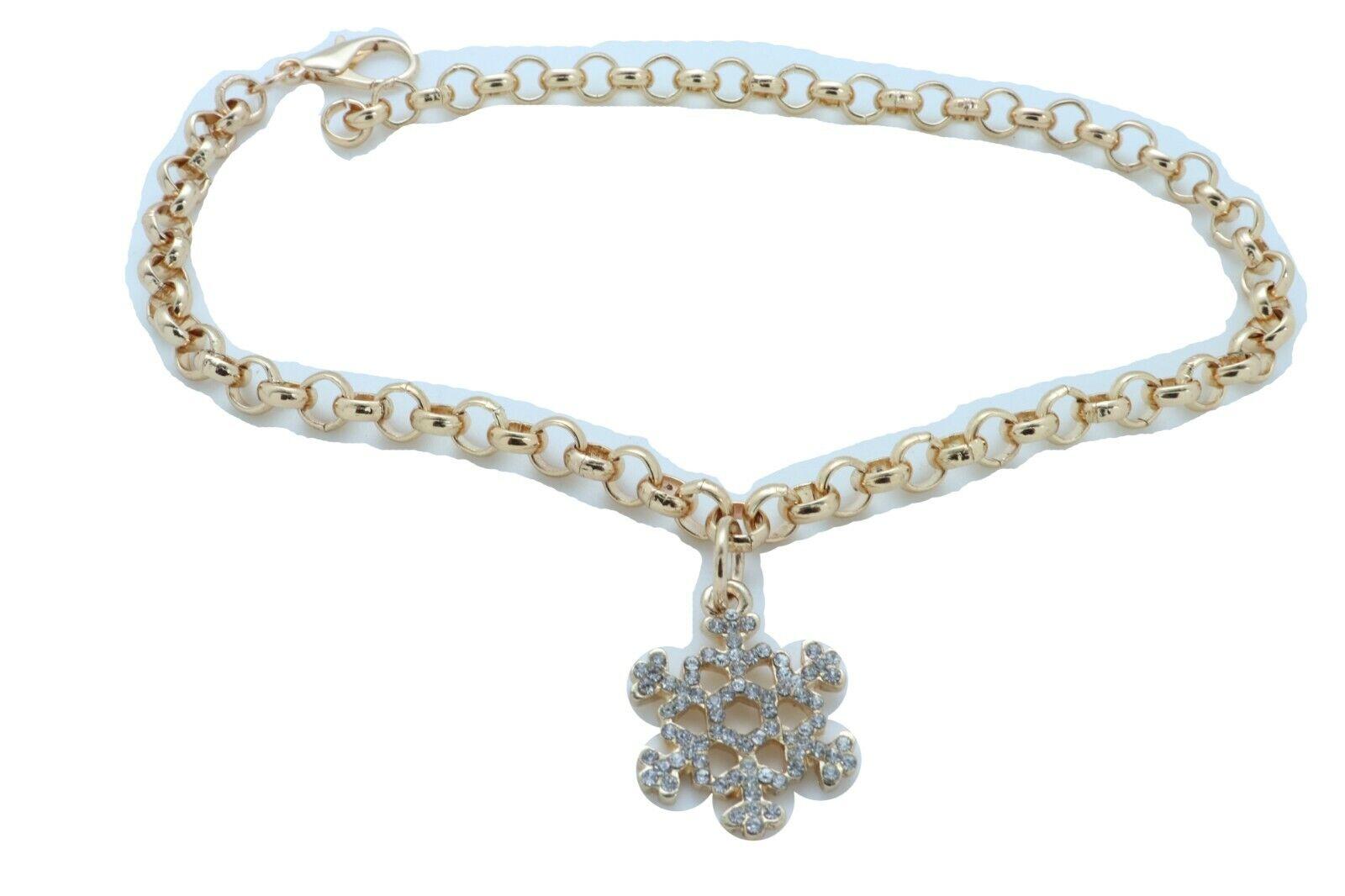 Women Gold Metal Chain Boot Bracelet Anklet Snowflake Shoe Bling Charm Present