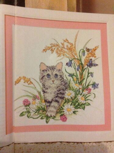 Summer Kitten Cat Flowers Butterfly Cross Stitch Chart B