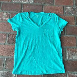 88b2358679860c Details about J. Crew Women's Size M 100% Linen V neck Pocket T Shirt Top
