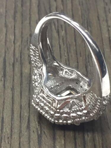 Ornate sterling argent 925 émeraude Cut Zircone cubique Halo Engagement-Cocktail Ring Taille 7