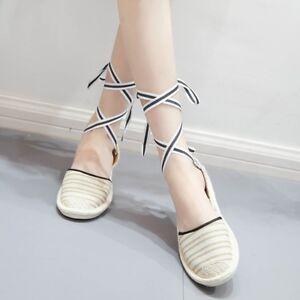 Womens-Sandals-Flat-Strappy-Lace-Up-Espadrilles-Summer-Beach-Flip-Flops-Shoes