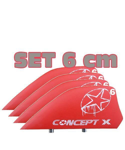 Concept X HC Finnen Kiteboard Kitefinnen Set 4 Pcs. 6 cm Rojo