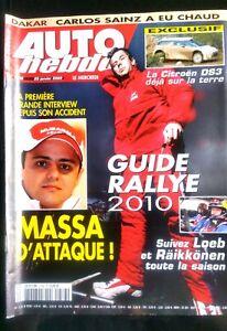 Auto Hebdo Du 20/01/2009; Guide Des Rallye 2010/ Dakar; Carlos Sainz/ Massa Le Plus Grand Confort