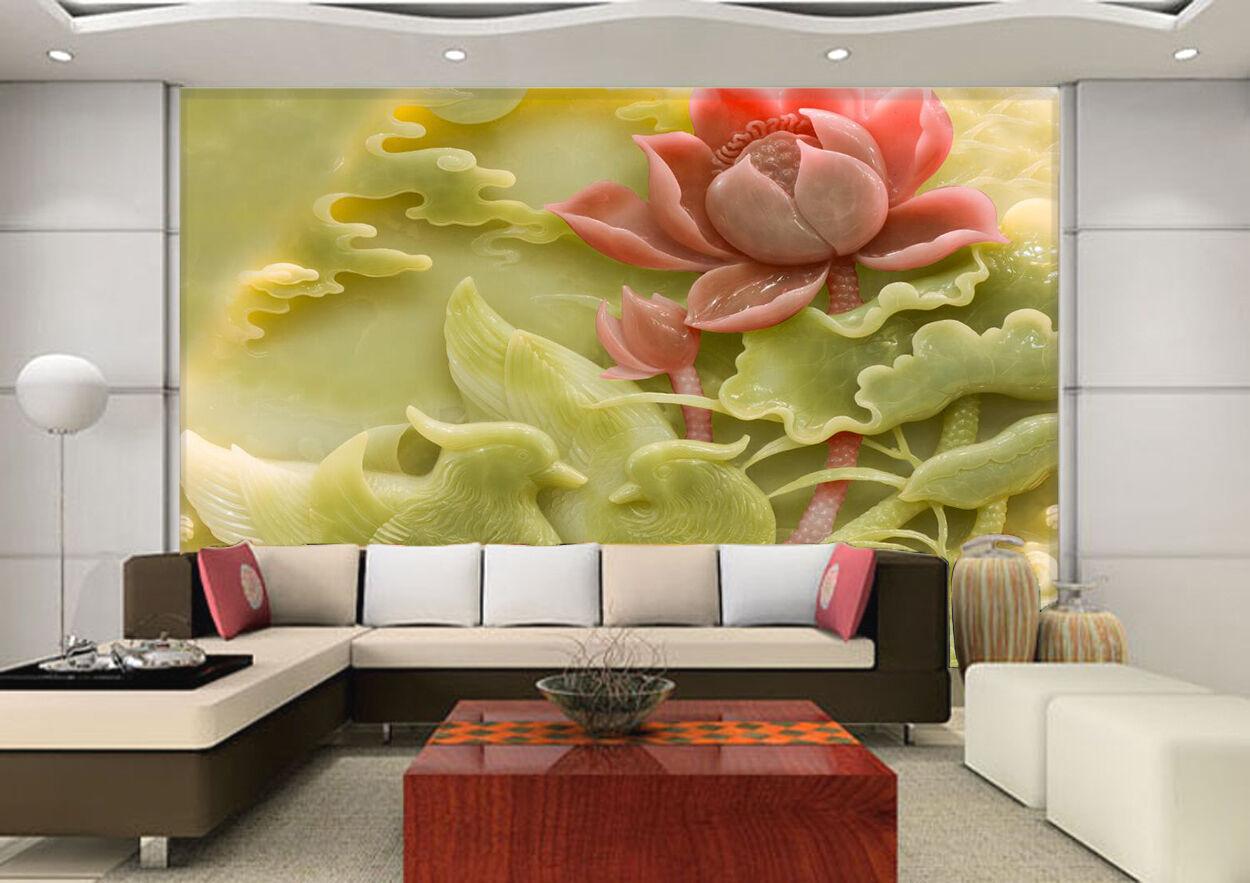 3D Jade Lotus 61 Photo Papier Peint en Autocollant Murale Plafond Chambre Art