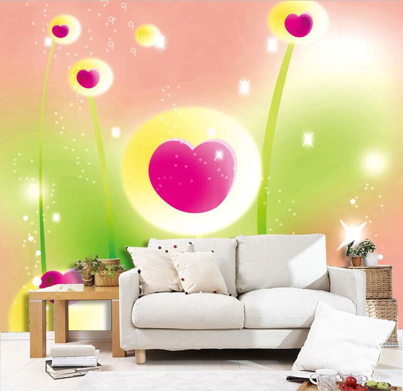 3d Cœur Fleur 529 Photo Papier Peint En Autocollant Murale Plafond
