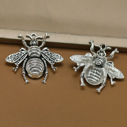 10X Antique Silver Bee Charms Honeybee Pendant Jewelry Making Findings