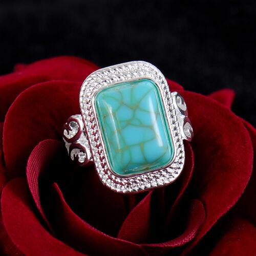 Turquoise Women Fashion Vintage Bijoux Plaqué Argent Anneau Cadeau Taille 7-9