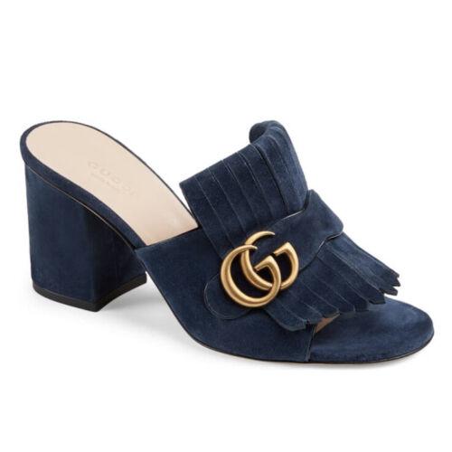 Gucci GG Marmont Kiltie Fringe Blue Suede Block H… - image 1