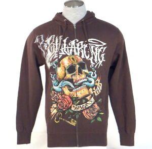 Billabong Signature Skull Graphics Brown Hoodie Hooded Sweat Jacket Men/'s NWT
