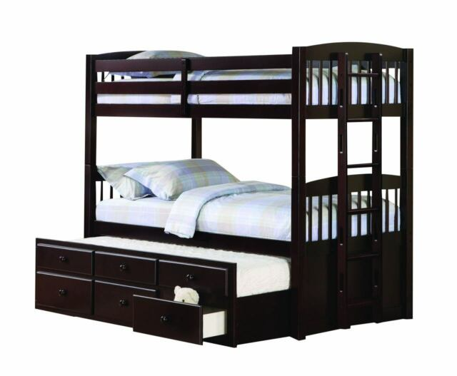 Contemporary Cappuccino Logan Twin Over Twin Bunk Bed With