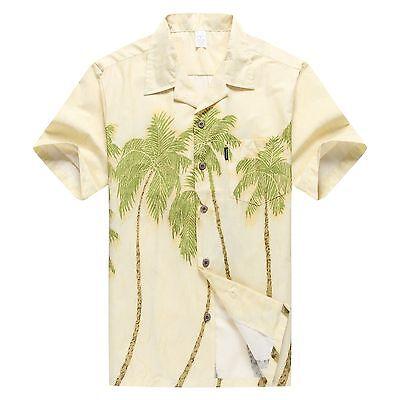 NWT Aloha Shirt Cruise Tropical Luau Beach Hawaiian Party Yellow Palm Trees