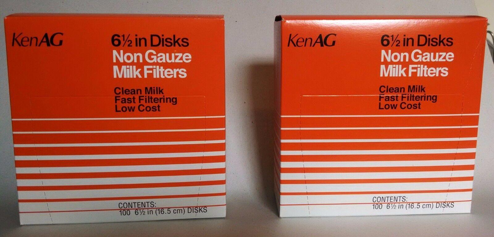 6-1//2 Inch 2 Boxes of 100 New *KenAg* Milk Strainer Filter Strainer Disks