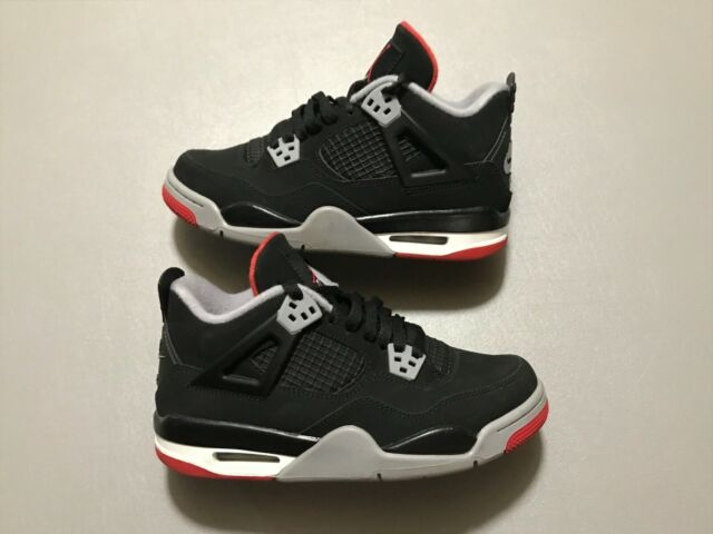 online store 881b5 d4a56 2019 Nike Air Jordan 4 IV Retro GS BRED Black Red White Size 5Y (408452-060)