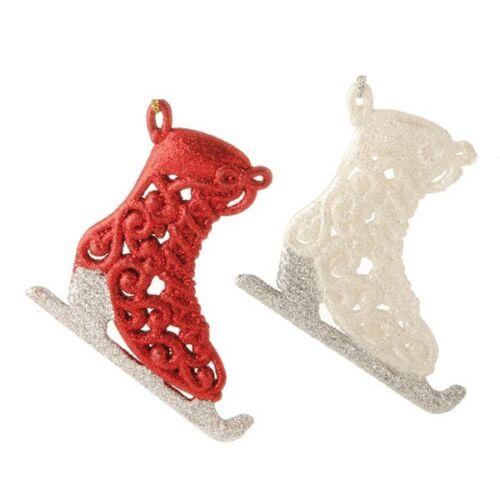"NEW!~RAZ Imports~5/"" Glittered Red//White Ice Skate Ornament~tree~Christmas//Winter"
