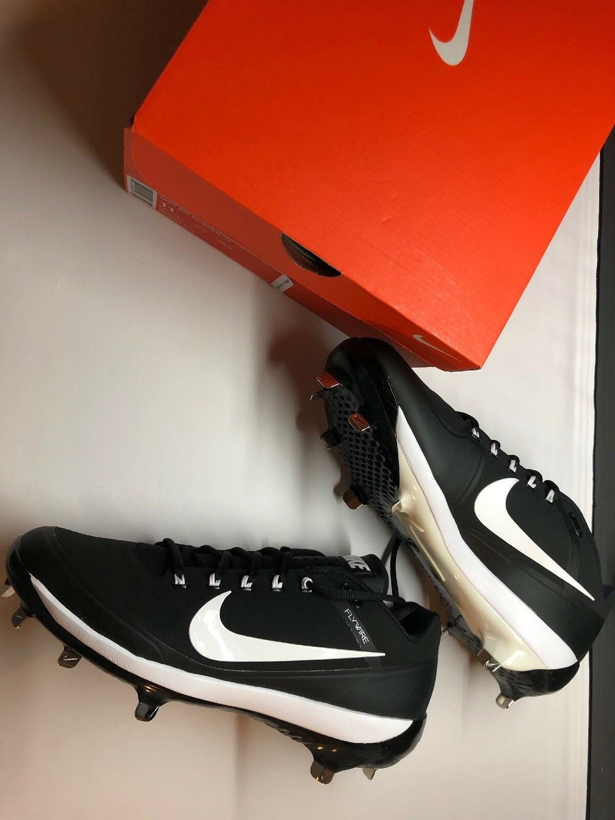NIKE Men's Air Clipper 17 Flywire Metal Baseball Cleats - BLACK WHITE Size 10.5
