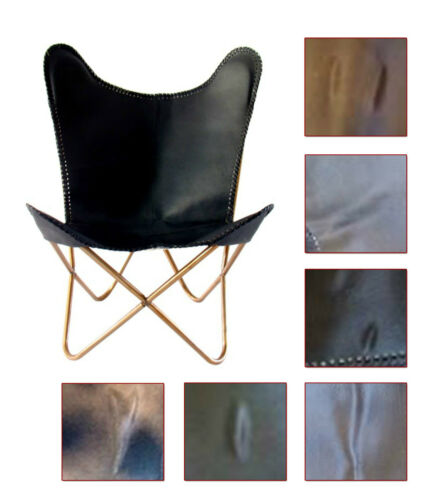 NuBuck Genuine Leather Butterfly Chair - DISCOUNTED - Choice of Styles & Colour! Chocolate,Black,Nutella,Grey Crackle,Light Brown Crackle,Dark Brown Crackle,Emerald,Coffee