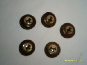 BUTTONS SCOTTY DOG LUCITE 0VER CELLULOID WOODEN SHANK VINTAGE