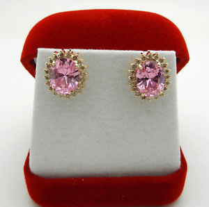 Estate 14k Yellow gold Pink Stone Halo Style Earrings with Diamonds 6.9 grams