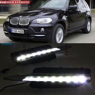 For 2007-2010 BMW E70 X5 Bumper Bolt-On 2x White LED Daytime Day Fog Light DRL