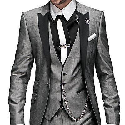 Light Grey Groom Wedding Suits Groomsmen Tuxedos Formal Men Business Prom Suit