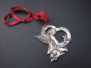 Christmas-Ornament-Gorham-Signed-Silver-Plate-Peace-Angel-Dove-Bird