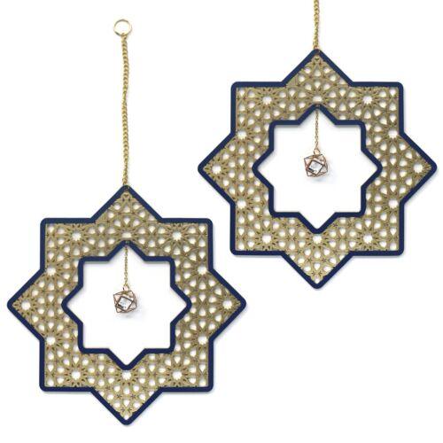 Gold Blue//Gold Ornate Wooden Stars Islam Eid Ramadan Mubarak Decorations
