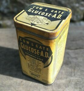 Collectable-Vintage-c1930-039-s-Cow-amp-Gate-Glucose-A-D-1lb-Tin-with-Hinged-Lid