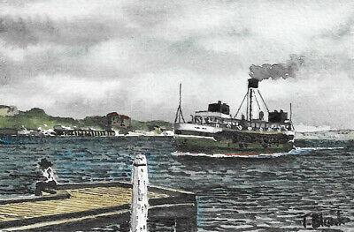 """Manly Ferry """"burra-bra"""". Antiquitäten & Kunst Nautika & Maritimes Begeistert Original Aquarell"""