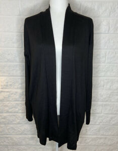 LuLaRoe Duster Sweater s Sarah Black Solid Open Front Pockets Cardigan Top D104