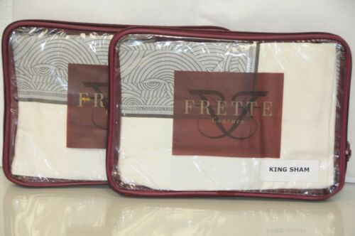 $550 NEW FRETTE Shanghai Vertigo Border SET 2 KING SHAMS Sham Ivory Grey Moka