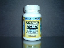 Potassium 395mg, heart, muscle kidnerys, muscle function - 30 tabs. Made in USA.