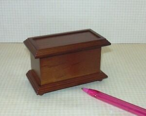 Miniature-Footed-Walnut-Toy-Box-Boy-039-s-Chest-DOLLHOUSE-Miniatures-1-12-Scale