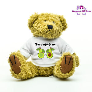 Image Is Loading You Complete Me Avocado Teddy Valentine Gift Couples